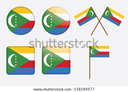 set of badges with flag of Union of the Comoros vector illustration