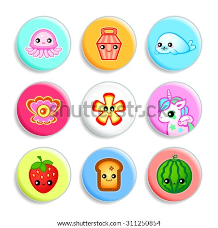 Set of badges with the cute Japanese style characters - stock vector