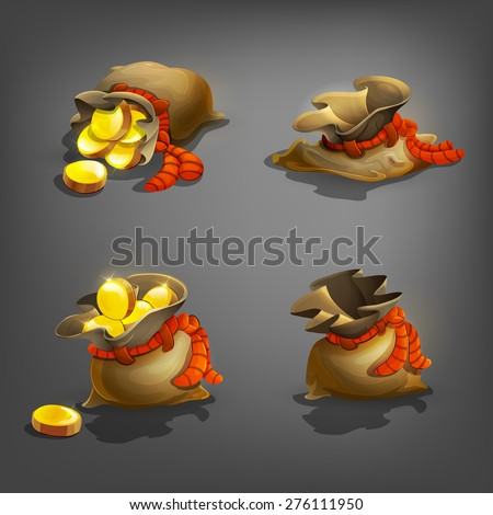 Set of bag with coins. Vector illustration. - stock vector