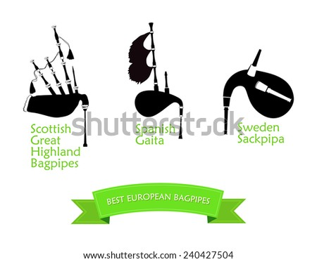 Set of Bagpipes, Vector Illustration in Flat Style Design - stock vector