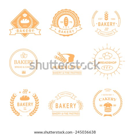 set of bakery and bread shop logos, labels, badges and design elements - bread, loaf, wheat ear, cake icons-vector - stock vector