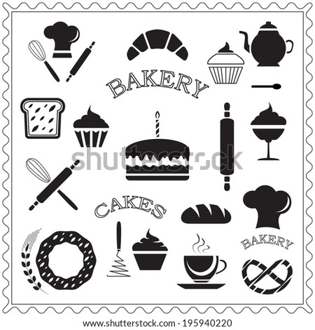 Set of bakery and cake icons, pastry shop design elements, isolated on white background, vector illustration.