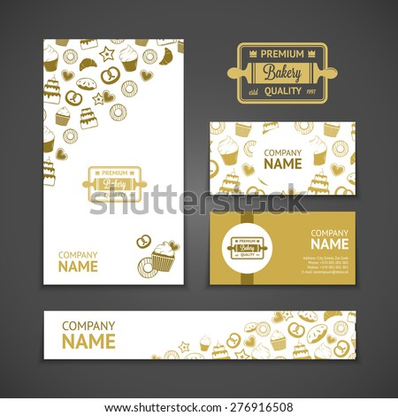 Set of bakery business cards. Templates for bakery company. Vintage vector illustration for your design - stock vector