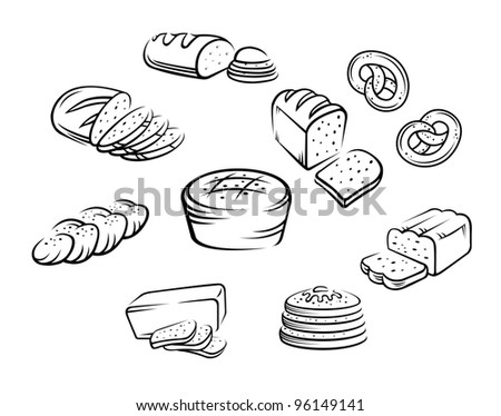 Set of bakery food on white background. Vector illustration