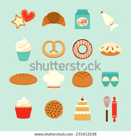 Set of 16 bakery icons included ingredients, instruments and finished goods. Flat style, vector illustration - stock vector