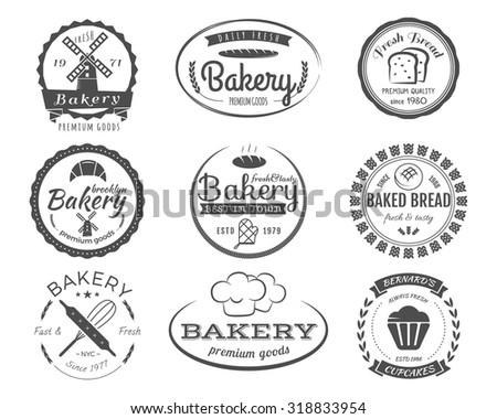 Set of bakery labels, badges and design elements, symbols. Fresh bread, cakes logo templates. Monochrome vintage style. Cupcake emblem. Vector illustration - stock vector