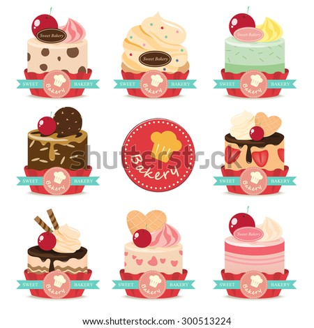 set of bakery sweet cup cake mix fruit - stock vector