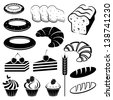 Set of baking and bread. vector - stock vector