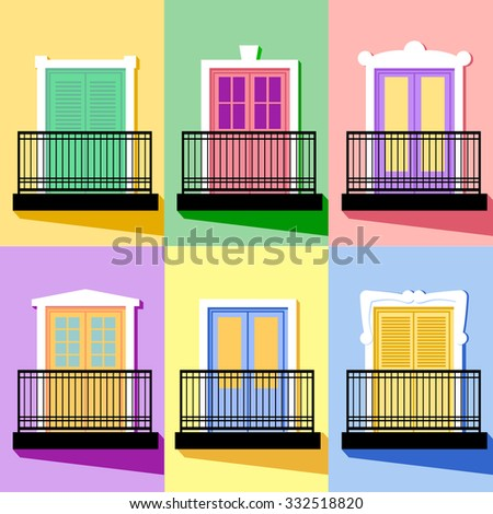Balconies stock photos royalty free images vectors for Balcony vector