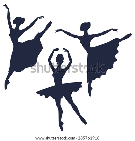 Set of ballerinas silhouettes on white background. - stock vector