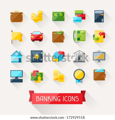 Set of banking icons in flat design style. - stock vector