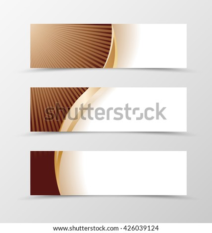 Set of banner design. Banner for header. Design of banner in chocolate style with gold wave - stock vector