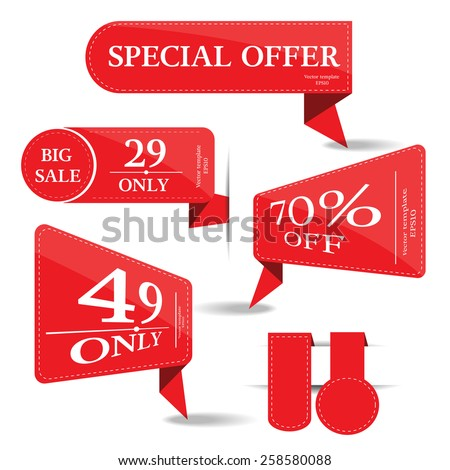set of banner price tag-vector - stock vector