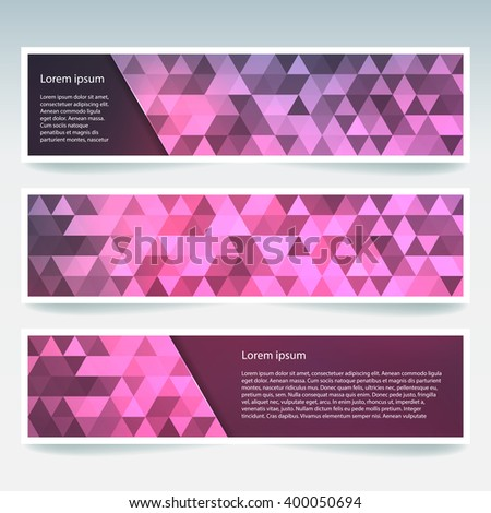 Set of banner templates with abstract background. Modern vector banners with polygonal background. Pink color.  - stock vector