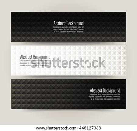 Set of banner templates with abstract background. White and black Template for graphic or website layout. Vector.