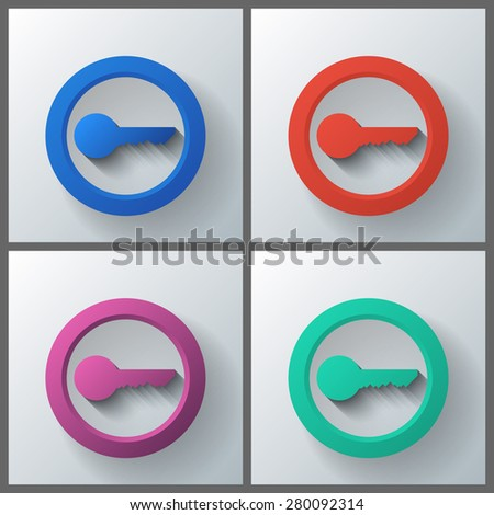 Set of banner templates with key icon. Eps10 Vector illustration - stock vector