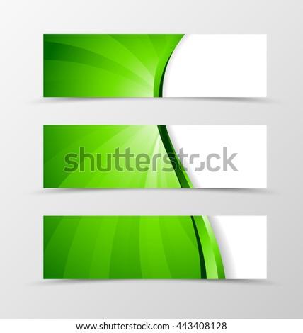 Set of banner wave design. Bright banner for header with green line. Design of banner in vortex spectrum style. Vector illustration - stock vector