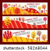 set of banner with ecology tree in autumn - stock vector