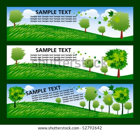 set of banner with ecology trees