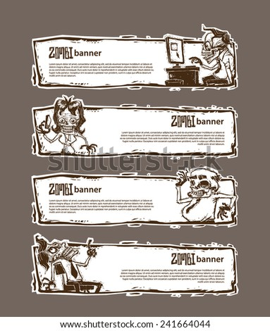 Set of Banner with Zombies in office, vector - stock vector