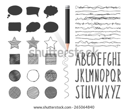 Set of banners, brushes and letters pencil drawing. Hand-drawn stylish font. The alphabet in style of sketch. Vector doodles. - stock vector