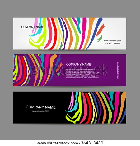 Set of banners, colorful zebra print design - stock vector