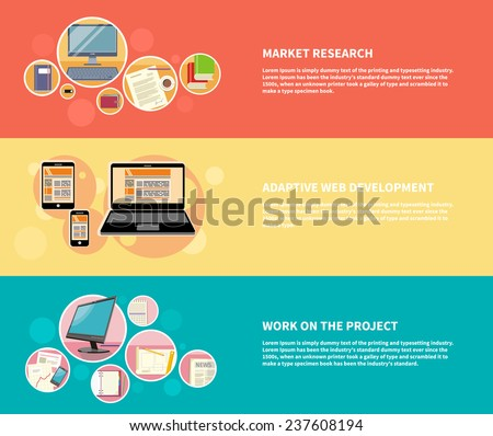 Set of banners for market research, adaptive web development, work on project with modern devices in flat design