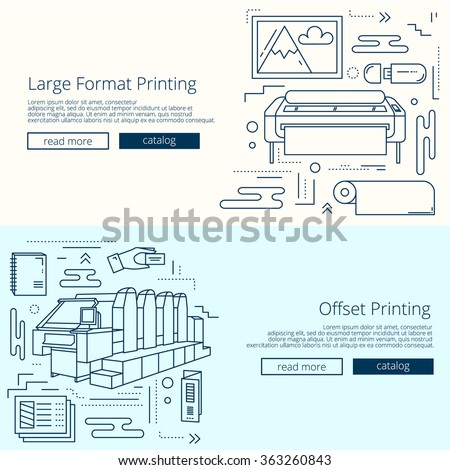 Set Of Banners For Printing House Or Print Shop. Offset Machine And Large  Format Plotter