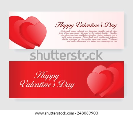 Set of banners for Valentine's Day with hearts. Vector illustration eps10  - stock vector