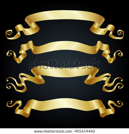 Set of  banners. Gold ribbons on black background. Vector illustration.