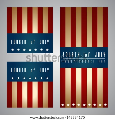 Set of banners happy independence day United States of America, 4th of July - stock vector