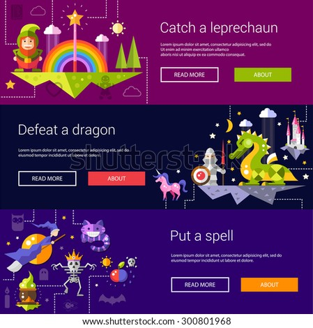 Set of banners, headers, illustrations  with fairy tales flat design magic vector icons and elements - stock vector