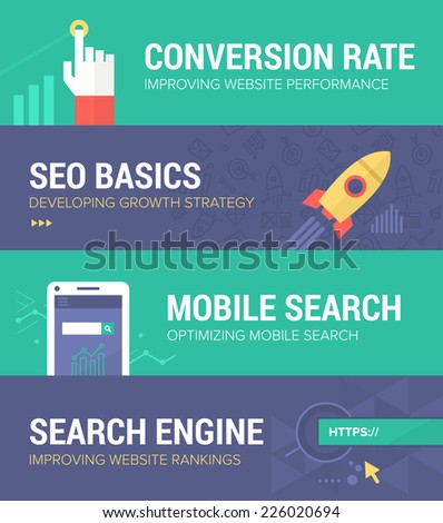 Set of banners in flat design style covering such themes as: conversion rate increase, developing seo strategy, improving mobile search and search engine ranking. - stock vector