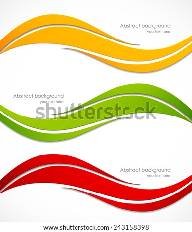 Set of banners in orange green red colors - stock vector