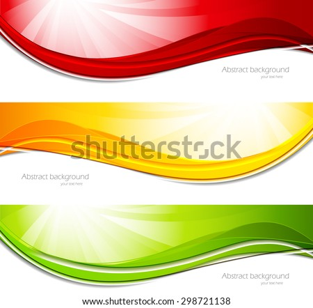 Set of banners in red green yellow colors - stock vector