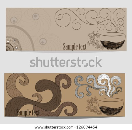 Set of banners on a coffee subject - stock vector