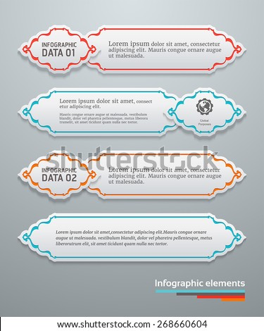 Set of banners template with Persian vintage elements - stock vector