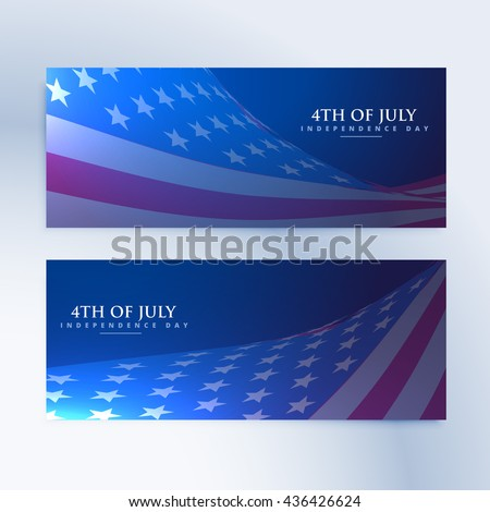 set of banners with american flag - stock vector