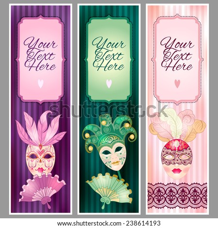 set banners carnival masks template text stock vector 238614193
