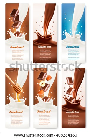 Set of banners with chocolate and milk splashes. Vector. - stock vector