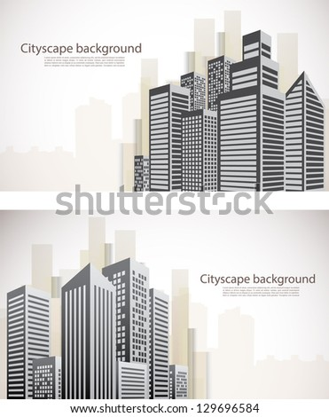 Set of  banners with cityscape - stock vector