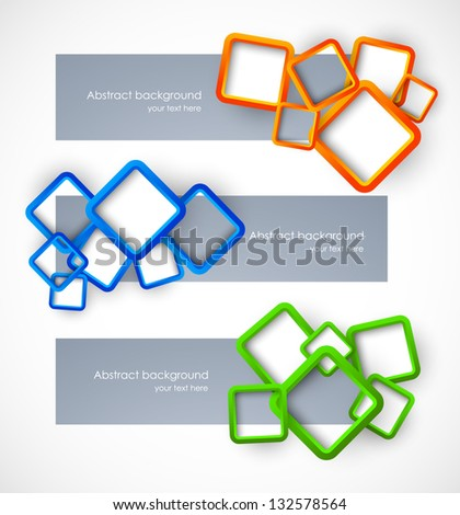 Set of banners with colorful squares - stock vector