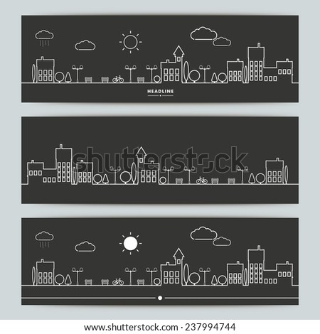 Set of banners with contour urban landscape. - stock vector