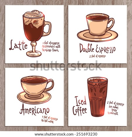 set of banners with cups of different kinds of coffee on the wooden background - stock vector