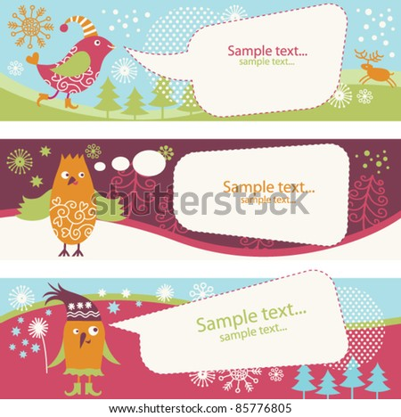 set of banners with cute birds and speech bubbles - stock vector