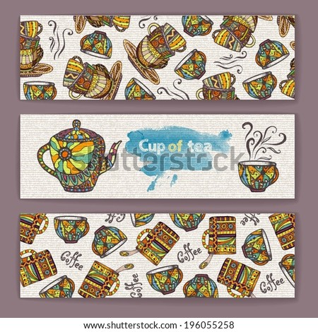 Set of banners with decorative cup of coffee - stock vector