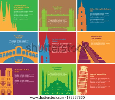 Set of banners with different historical sites - stock vector