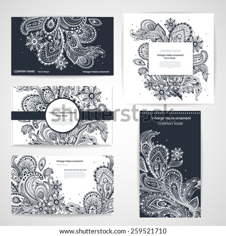 Set of banners with floral Indian ornaments can be used as a business cards - stock vector