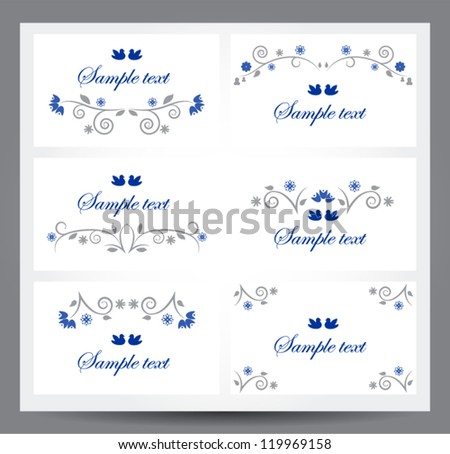 Set of banners with floral ornament. Vector text dividers design elements. Easy to edit. Perfect for invitations or announcements.