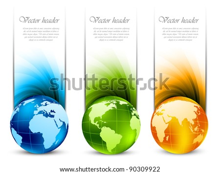 Set of banners with globe - stock vector